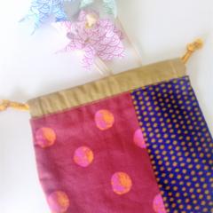 Drawstring Round Pouch - Multi colour - DOT