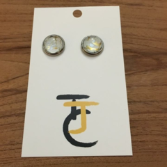Gold Crackle -  Round Glass Tile Stud Earrings