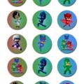 "PJ Masks Edible Icing Cupcake Toppers - 2"" - PRE-CUT - Sheet of 15 - EI143C"