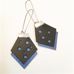 Blue Polka dot leather earrings