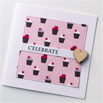 CELEBRATE happy birthday cupcakes pink chocolate cherry wooden heart friend card