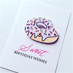 SWEET birthday wishes donut sprinkles boy girl celebrate card