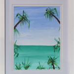 Horizon - Acrylic Seascape/Beach Painting on Paper (Framed)