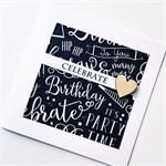 Celebrate happy birthday black white chalkboard him male brother son friend card
