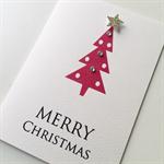 Set of 6 Merry Christmas red tree gold glitter star friend teacher card
