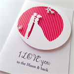I LOVE you to the moon & back white and red stars couple anniversary card