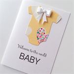 Baby newborn congratulations yellow lemon onesie cute heart bow card