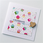 CELEBRATE happy birthday cupcakes pastel wooden heart friend card