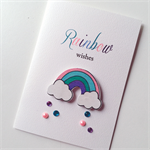 RAINBOW wishes clouds shower sprinkles happy birthday celebrate card