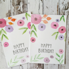 Birthday card - Whimsical flowers