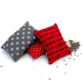 Trio of  lavender sachets: red and grey