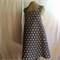 Japanese Wrap Apron, grey linen with white dots, large, size 16/18