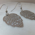 Stainless Steel Filigree Leaf Pendants on Stainless Steel Earring Hooks