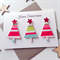 SET OF 6 Merry Christmas lush trees stripes bright  friend teacher family card