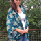 Turquoise Flora ~ women's oversize rayon kimono shawl beach one size fits all