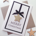 Merry Christmas gold star ribbon lush friend teacher family gold glitter card