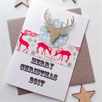 SET OF 6 Merry Christmas 2017 reindeer friend teacher family gold glitter card