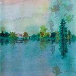 The Garden Pond - Watercolour Painting on Paper