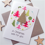 Set of 6 A Christmas wish for you friend teacher family tree gold glitter card