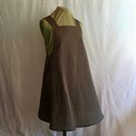 Japanese Wrap Apron, dark brown cotton print medium / size 12/14