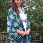 Turquoise Flora ~ women's oversize rayon kimono shawl one size fits all