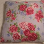 Blue and Fuchsia Floral Cushion