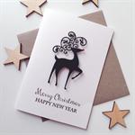 Merry Christmas happy new year reindeer friend teacher family card