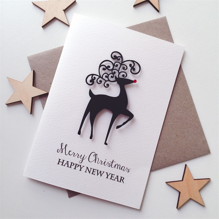merry christmas happy new year reindeer friend teacher family card