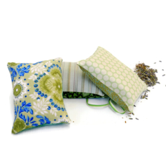Trio of  lavender sachets: green prints