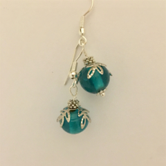 Teal Christmas Bauble earrings