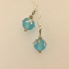 Pale Blue Christmas Bauble earrings