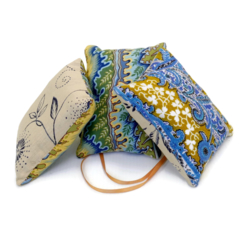 Trio of  lavender sachets: olive green and blue
