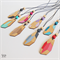 Ombre Geometric Faceted Crystal Gemstone Laser Cut Bamboo Wood Pendant