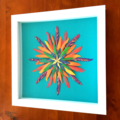 Painted framed feathers - Bright rainbow toned feather art - Boho style home dec