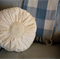 Vintage Look - Natural Raw Silk Cushion with doily - 40 cm round