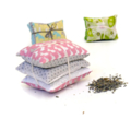 Trio of  lavender sachets: pink and grey rabbits with a polka dot print