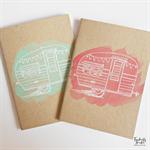 Caravan Hand Stamped & Embossed Blank Page Journal Notebook