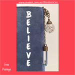 BELIEVE - bookmark with real dandelion seeds
