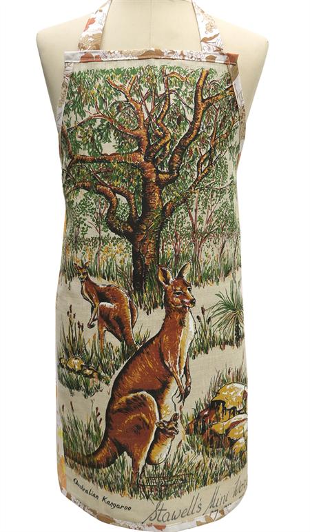 Metro Retro Australian Kangaroo Vintage Tea Towel Apron  - Christmas Birthday