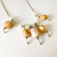 Agate and Smoky Quartz Necklace.
