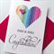 Mrs & Mrs LOVE IS LOVE heart stripe rainbow wedding engagement cerebrate card