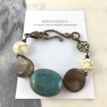 Ceramic and Turquoise Howlite Beaded Bracelet on Bronze Metal Hardware