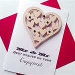 Mr & Mr LOVE IS LOVE wooden lasercut engagement celebrate card
