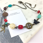 Coral and Turquoise, Swallow, Butterfly and Cross Bronze Charm Necklace