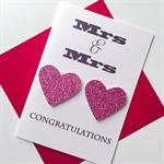 Mrs & Mrs LOVE IS LOVE heart pink glitter wedding engagement celebrate card