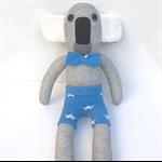 **'Kurt' the Sock Koala - grey with blue shorts and bow tie  - *READY TO POST*
