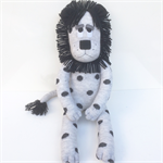 'Lloyd' the Sock Lion - grey with black spots - *READY TO POST*