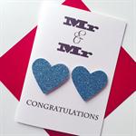 LOVE IS LOVE Mr & Mr blue glitter congratulations engagement wedding card