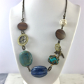 Ceramic and Turquoise Charm Necklace with Bronze Findings