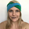 Retro Look Black & Green Two Tone Twist Turban Wrap Headband 70s feel
